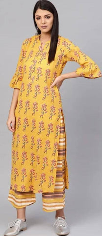 Glowing Yellow Colored Cotton Palazzo Set Partywear