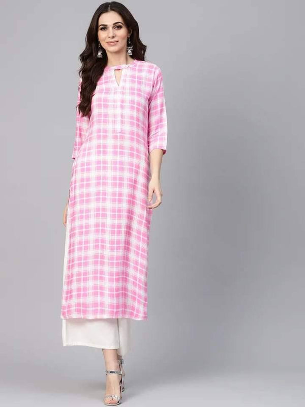 Lively Pink Colored Cotton Kurti