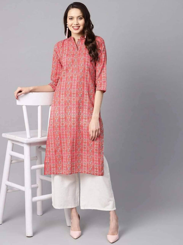Captivating Red Colored Cotton Kurti