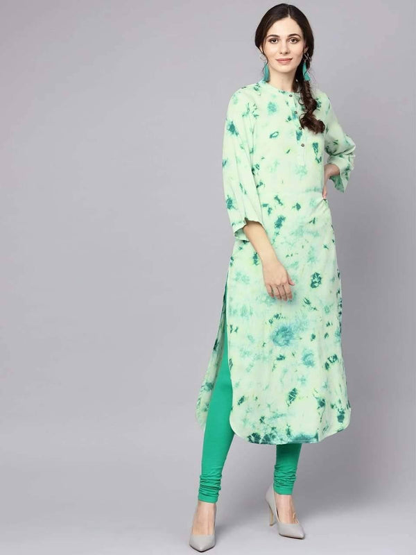 Blissful Green Colored Cotton Kurti
