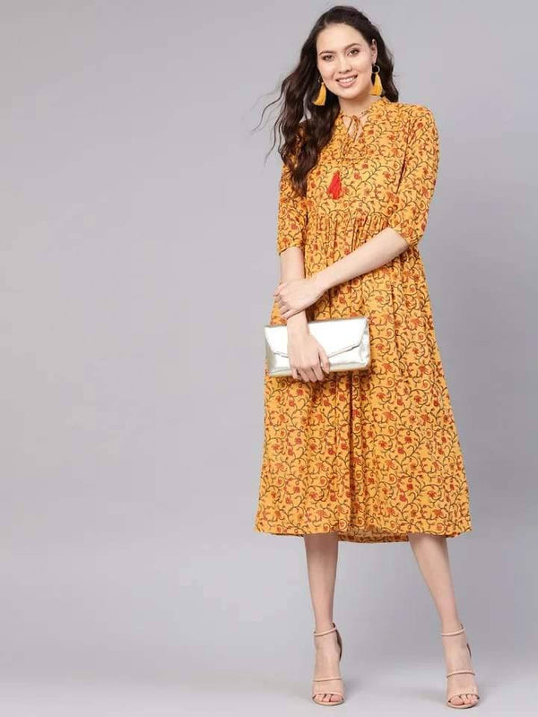 Dazzling Mustard-Yellow Colored Cotton Kurti