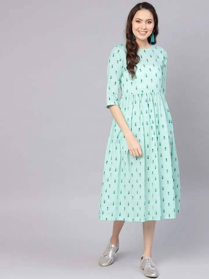 Pleasant Light-Blue Colored Cotton Kurti