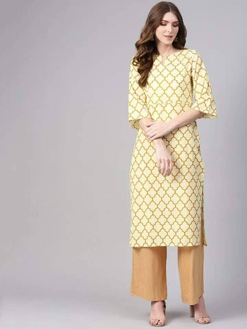Impressive Corn-Silk-Yellow Colored Cotton Kurti