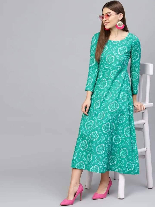 Pretty Turquoise Colored Cotton Kurti