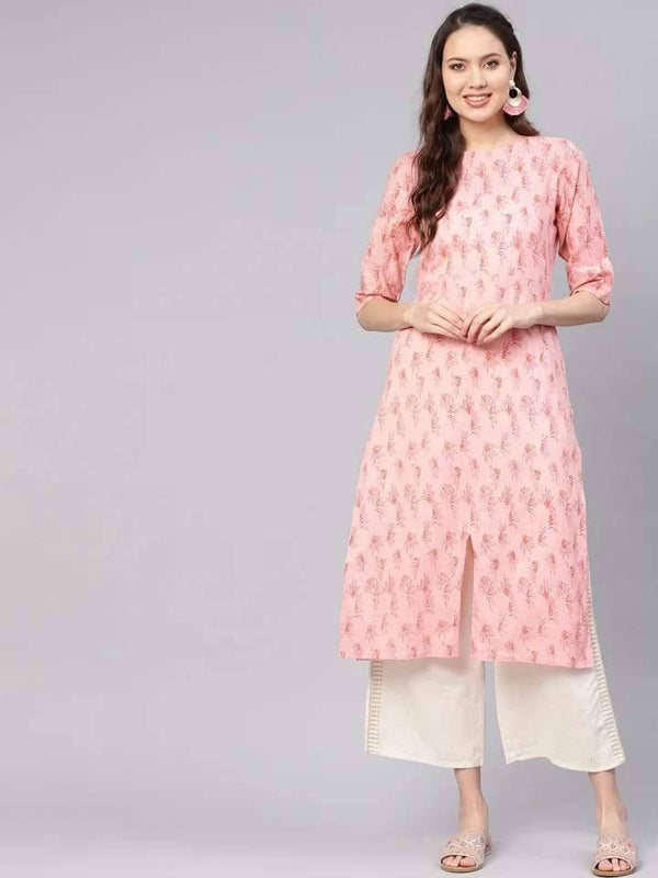 Eye-Catching Pink Colored Cotton Kurti