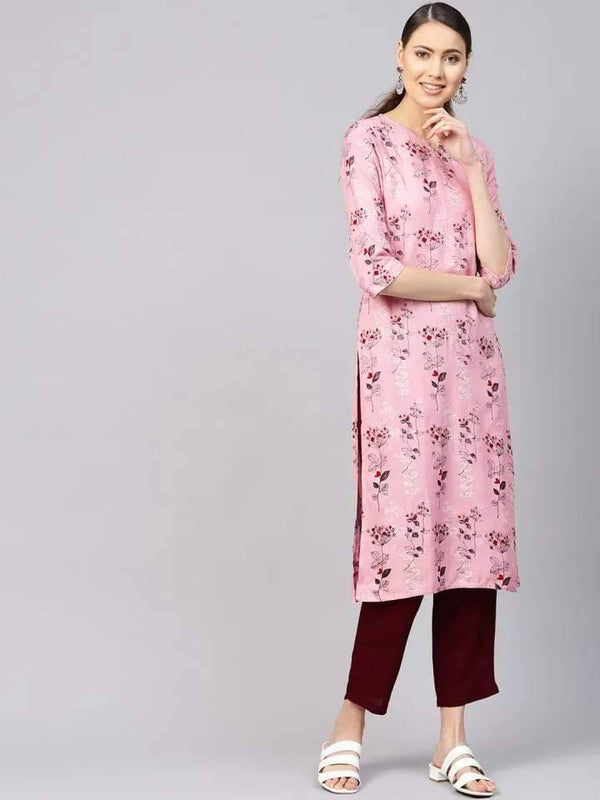 Trendy Pink Colored Cotton Kurti