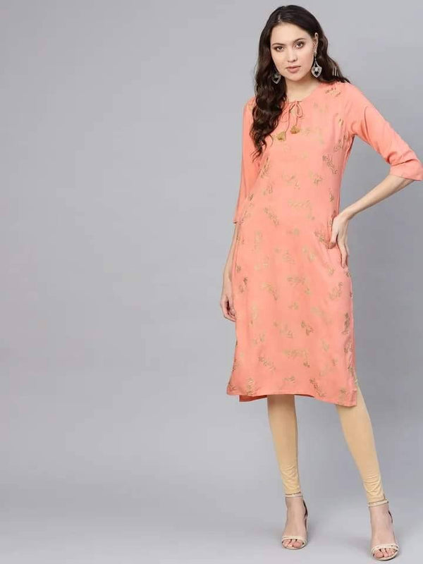 Elegant Light Salmon Colored Cotton Kurti