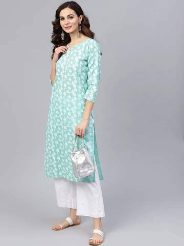Mesmeric  Aqua Blue Colored Cotton Kurti