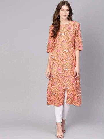 Gorgeous Burlywood Colored Cotton Kurti