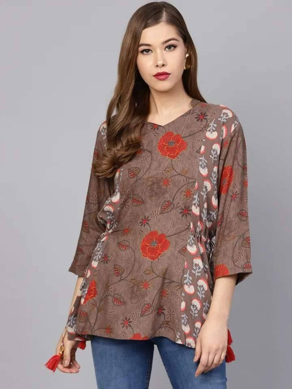 Striking Brown Colored Rayon Short Kurti