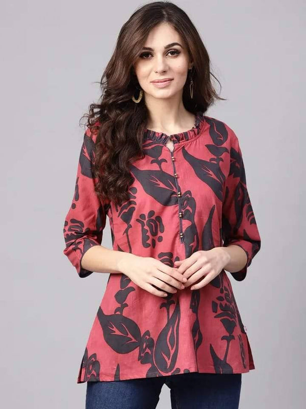 Exquisite Pink Colored Rayon Short Kurti