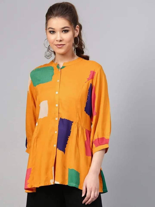 Flaming Orange Colored Rayon Short Kurti