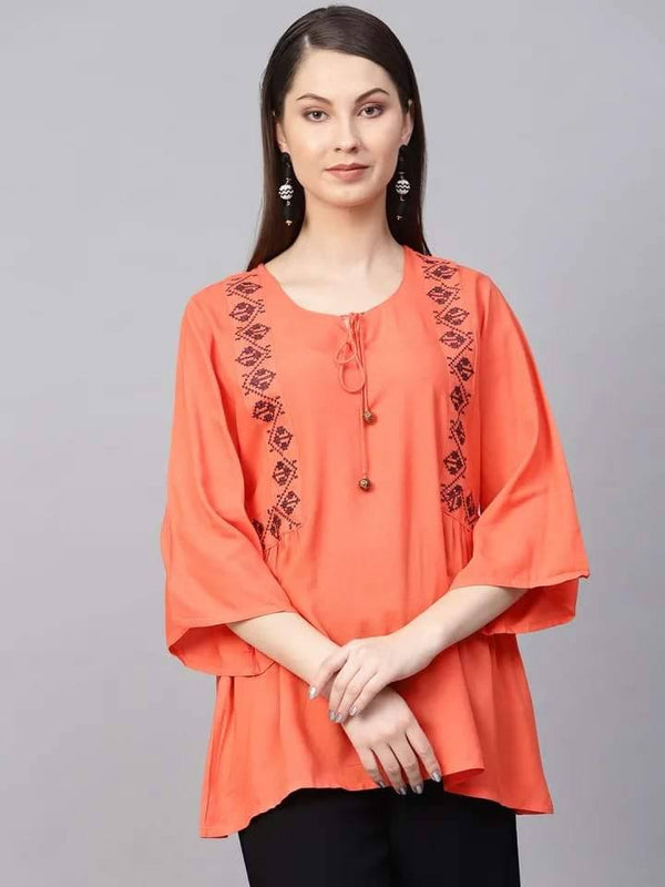 Elegant Orange Colored Rayon Short Kurti