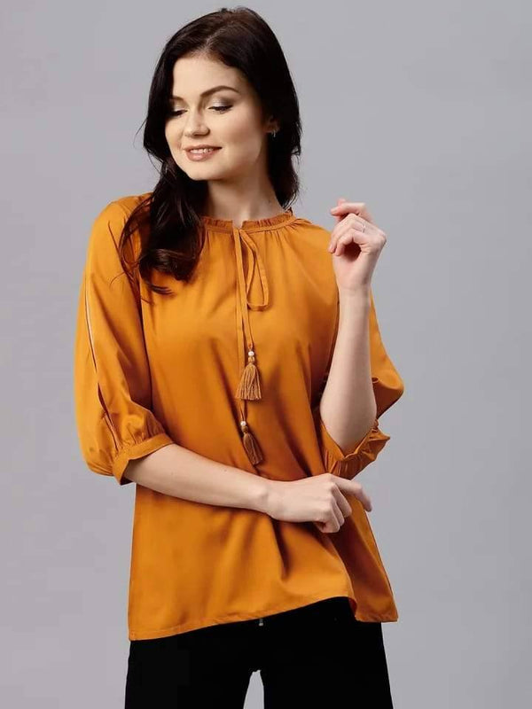 Radiating Orange Colored Rayon Short Kurti