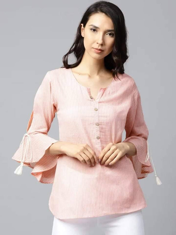 Divine Pink Colored Rayon Short Kurti