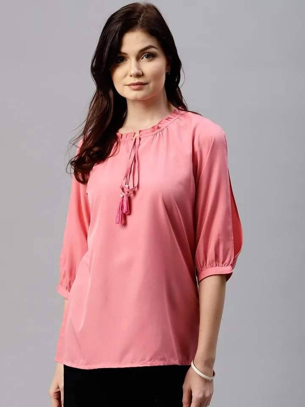 Lustrous Pink Colored Rayon Short Kurti