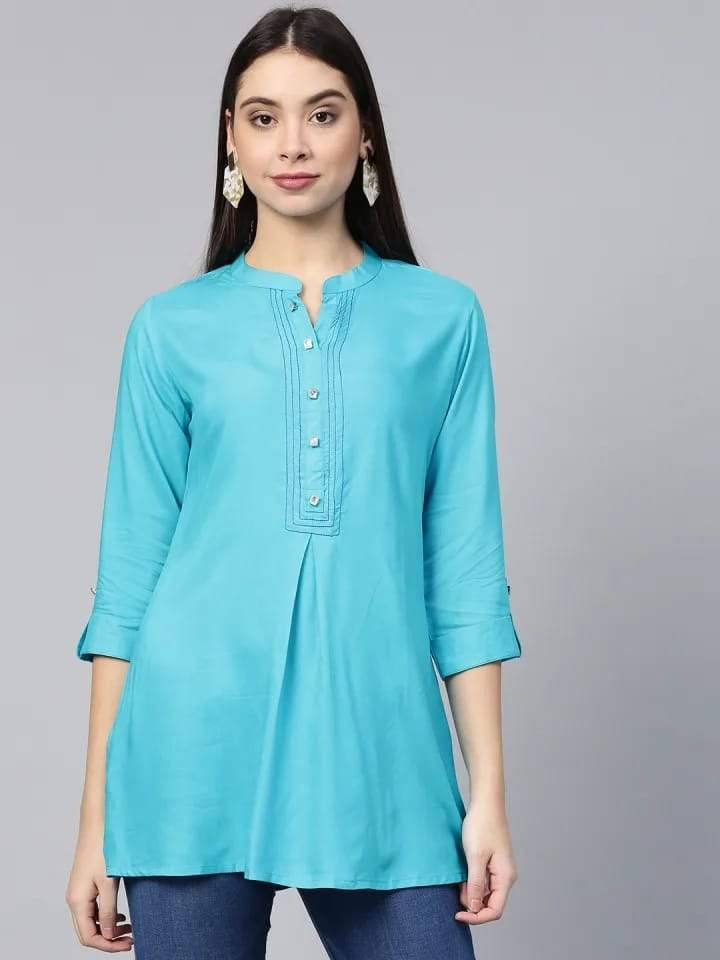 Alluring Sky Blue Colored Rayon Short Kurti