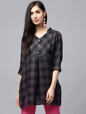 Slick Black Colored Rayon Short Kurti