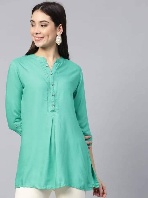 Delectable Green Colored Rayon Short Kurti