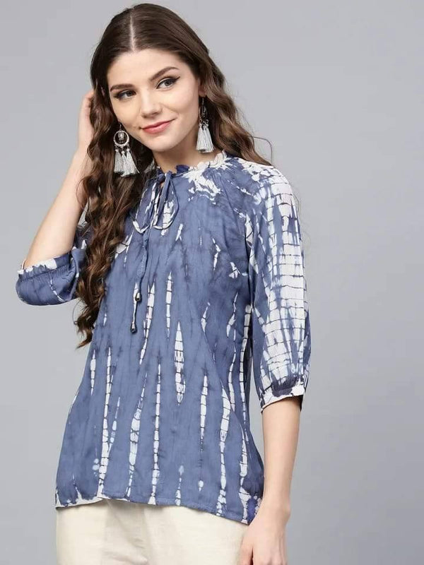 Luscious Blue Colored Rayon Short Kurti