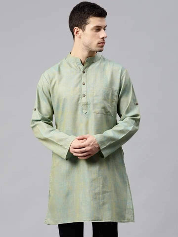 Admirable Light Green Cotton Short Kurta