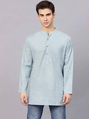 Aristocratic Light Blue Cotton Short Kurta