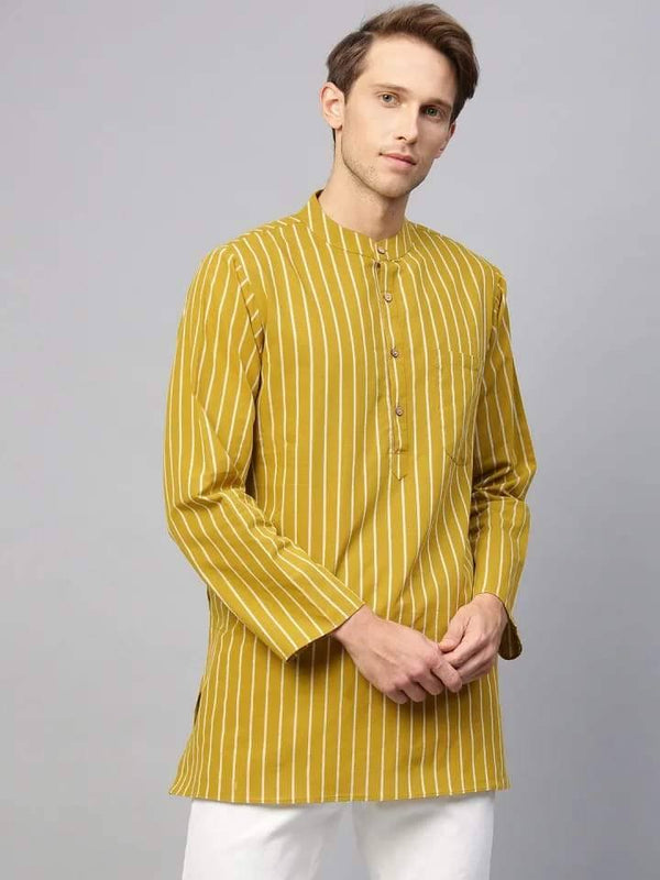 Suave Mustard Yellow Cotton Short Kurta