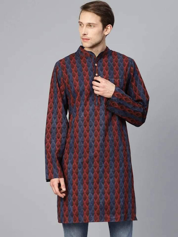 Fashionable Maroon Cotton Short Kurta