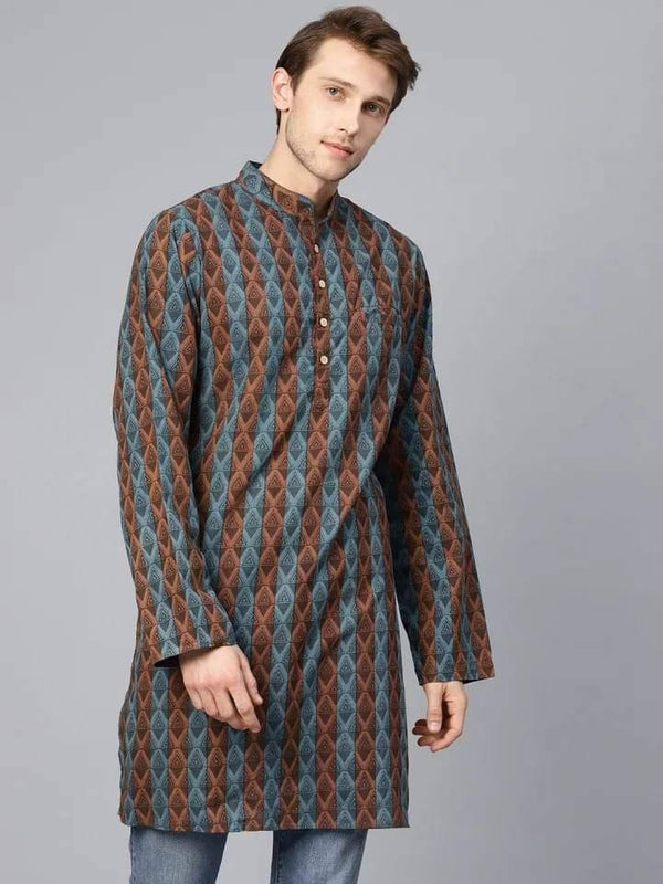Elegant Grey And Brown Cotton Short Kurta