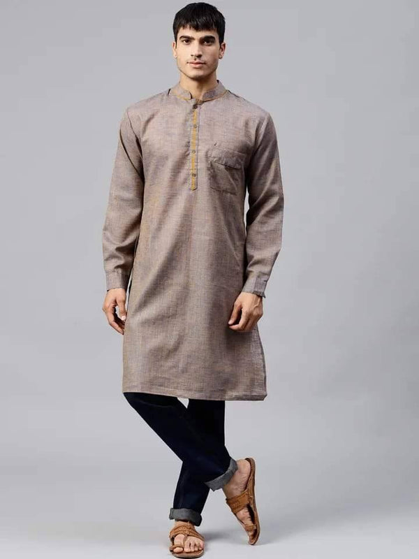 Stylish Greyish Light Brown Cotton Short Kurta