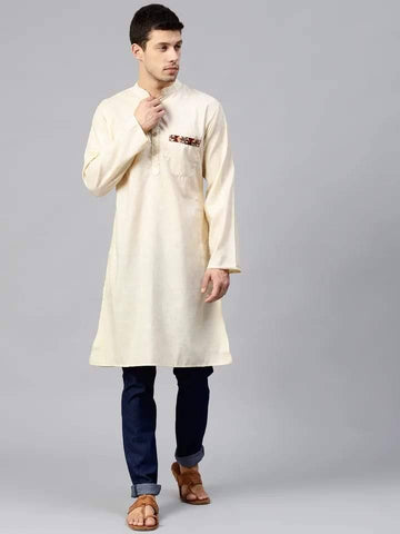 Attractive Cream Cotton Short Kurta