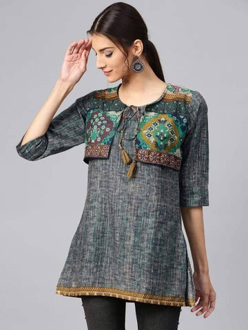 Blissful Grey Colored Rayon Short Kurti With Jacket