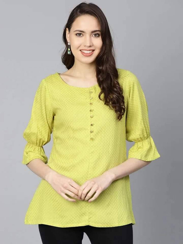 Delightful Yellow Colored Rayon Short Kurti