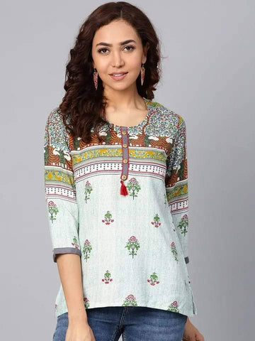 Heavenly White Multi Colored Rayon Short Kurti