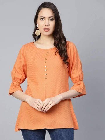 Adorable Orange Colored Rayon Short Kurti