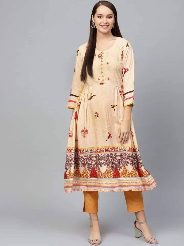 Blissful Pale Orange Colored Rayon Cotton Kurti
