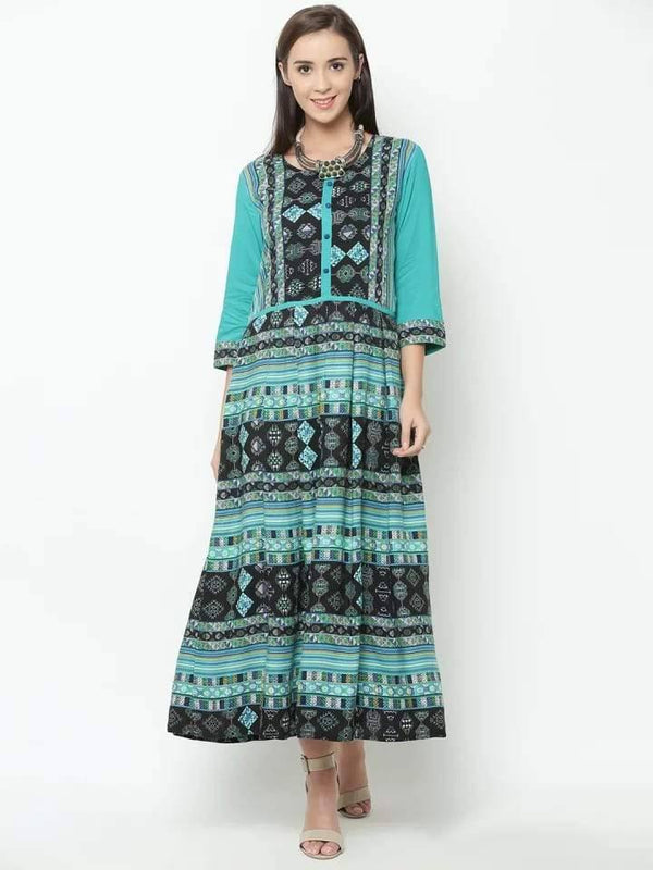 Splendid Green And Black Colored Rayon Cotton Kurti