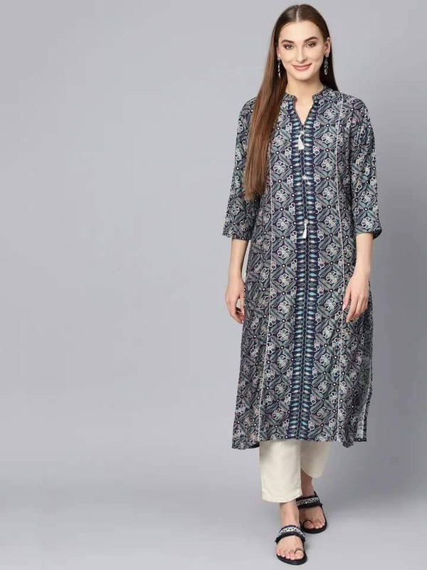 Ambrosial Grey Colored Rayon Cotton Kurti