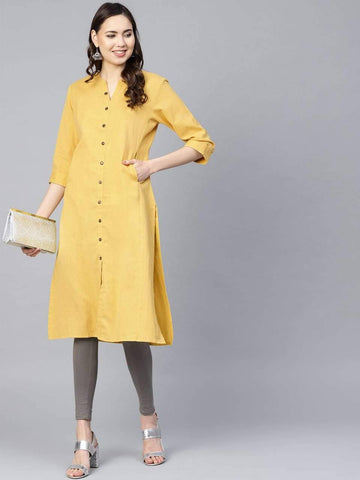 Agreeable Yellow Colored Cotton Kurti