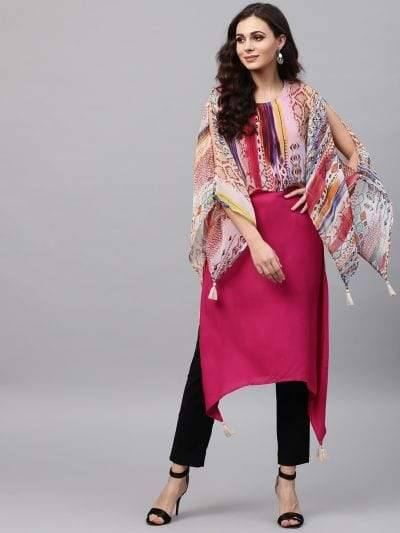 Tempting Maroon Colored Cotton Kurti
