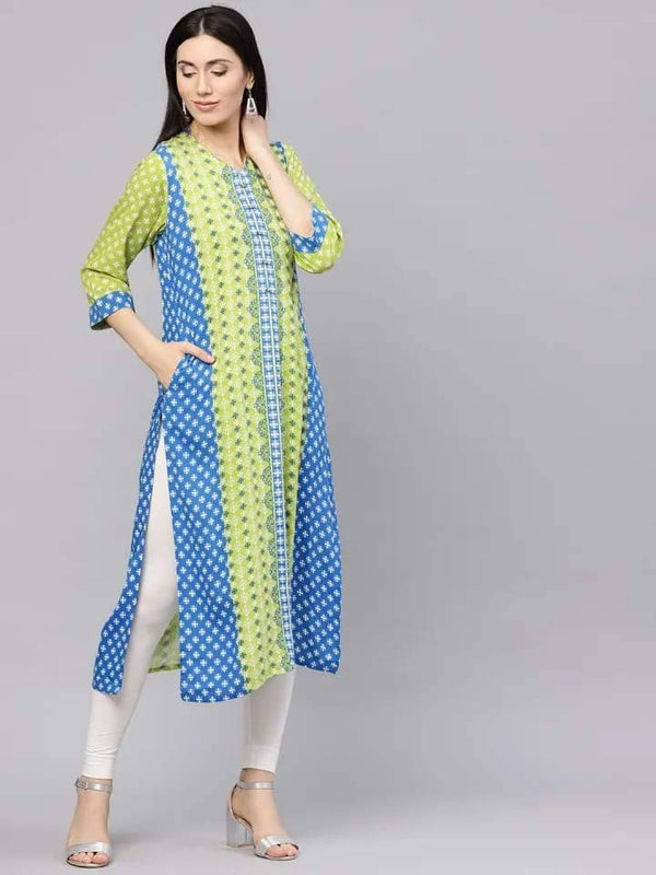 Enticing Green And Cream Colored Cotton Kurti Top