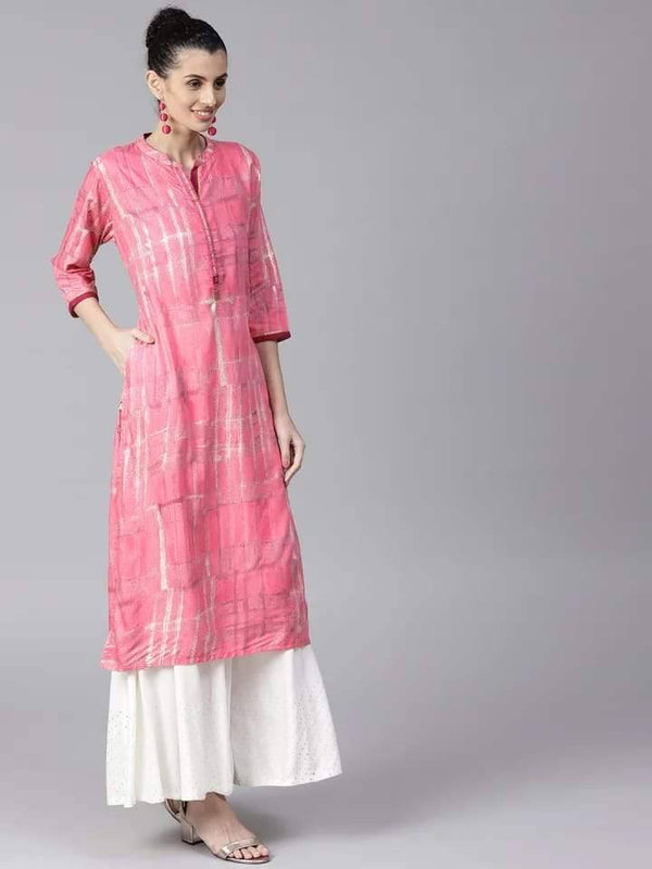 Pleasing Pink Colored Cotton Kurti Top