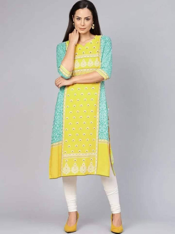 Elegant Yellow and Green Colored Cotton Kurti Top