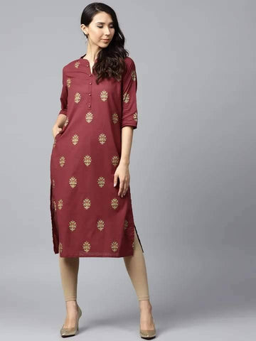 Seraphic Maroon Cotton Kurti Top