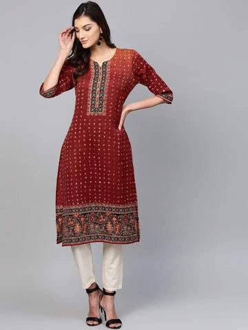 Adorable Maroon Cotton Kurti Top