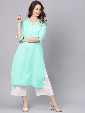 Beautiful Aqua Blue Colored Cotton Kurti