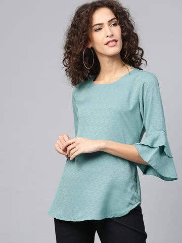 Stylish Green Colored Cotton Ruffled Kurti Top
