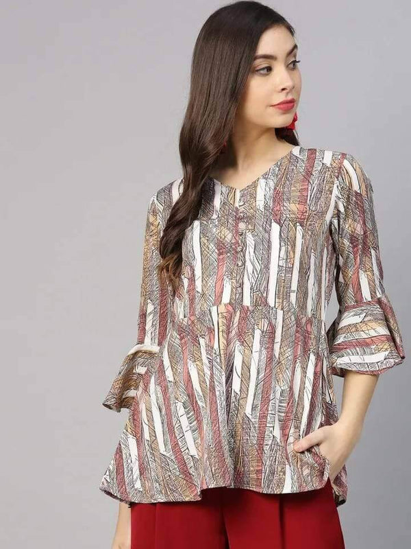 Admirable Grey Colored Cotton Ruffled Kurti Top