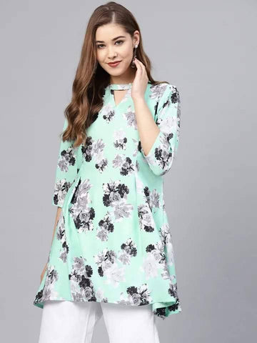 Charming Aqua Blue Colored Cotton Ruffled Kurti Top