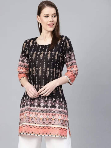 Alluring Black Colored Cotton Kurti Top